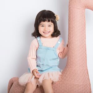 长袖中小童儿童秋冬女宝宝童装圆领领打底衫针织保暖纯色