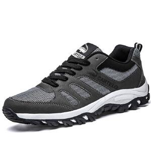 卡帝乐鳄鱼男鞋子秋冬季透气登山鞋男运动休闲户外跑步防滑徒步鞋