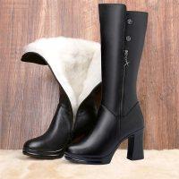 靴子女中筒靴女粗跟秋冬款女靴冬季鞋子女加绒2018新款冬靴