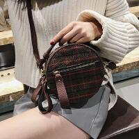 格子小圆包包2018新款潮韩版明星同款个性斜挎包女手提包单肩小包