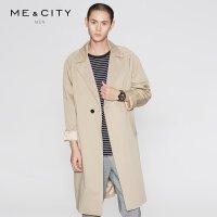 【1件2.5折到手价:183.8】MECITY男装春季一粒扣西装领风衣中长款
