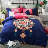 秋冬棉磨毛四件套加厚全棉床品床单被套1.8m2.0米双人床上用品 2.0(6.6英尺) 床