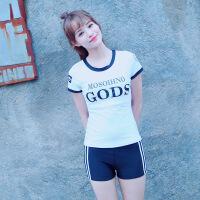 游泳衣女分体保守学生韩国温泉遮肚显瘦少女运动两件套平角裤泳装