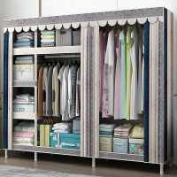 衣柜简易布衣柜全钢架出租房用衣柜现代简约家用卧室柜子收纳衣橱