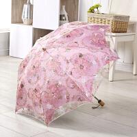 防晒黑胶太阳伞防紫外线折叠遮阳伞刺绣洋伞蕾丝晴雨伞女c