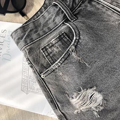 谜秀牛仔短裤2018夏装新款韩版高腰chic港味休闲裤破洞热裤女装潮