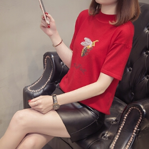 2018春新款韩版纯色半袖针织衫女宽松套头半领短袖t恤百搭打底衫