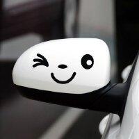 20180823160211614汽车贴纸 反光镜车贴 倒车镜贴 后视镜贴 俏皮笑脸反光镜贴 拉花