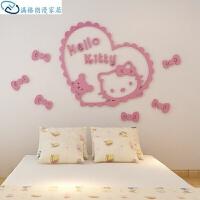 卡通墙贴画kitty凯蒂猫亚克力立体墙贴纸儿童房创意卡通贴画卧室装饰画 粉红色 超