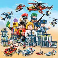 启蒙积木拼装玩具男孩拼插警察车儿童智力模型6岁-8-10岁移动特警