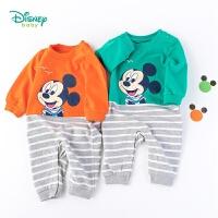 【139元3件】迪士尼Disney童装男童条纹拼接连体衣秋装米奇婴儿爬服宝宝纯棉哈衣193L838