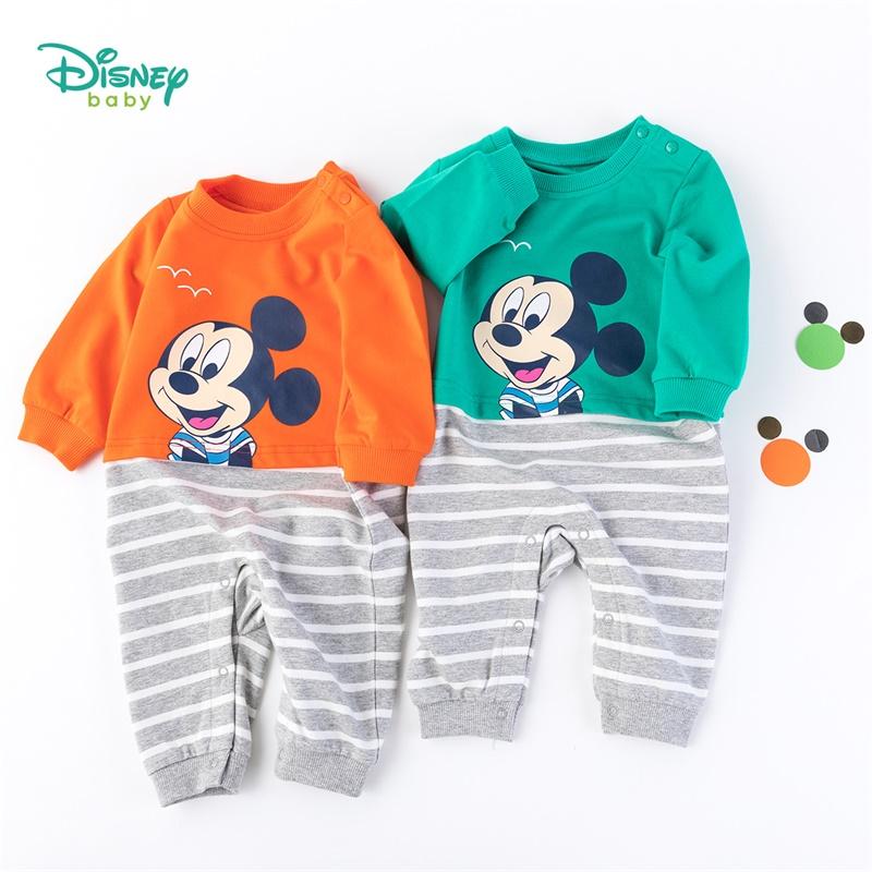迪士尼Disney童装男童条纹拼接连体衣秋装米奇婴儿爬服宝宝纯棉哈衣193L838 条纹拼接连体衣
