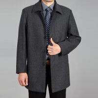 中老年男装羊毛呢外套中长款秋大衣200斤爸爸装风衣加肥加大码195