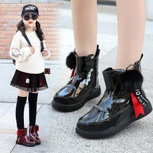 女童短靴2018秋冬新款女孩小皮靴公主加绒棉鞋儿童马丁靴女童靴子