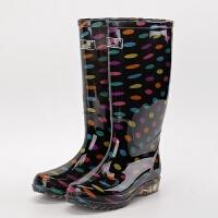 夏季雨鞋女高筒雨靴水靴时尚保暖水鞋防水长筒胶套鞋新款 宝蓝色(无棉套) 圆点