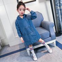 儿童连衣裙春季女童装牛仔裙子女大童韩版连帽公主卫衣裙