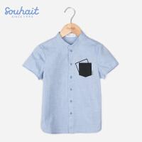 【3件3折 到手价:65.7元】水孩儿(SOUHAIT)男童短袖衬衫2018新款夏季男童夏装纯棉半袖衬衣ASXXM552