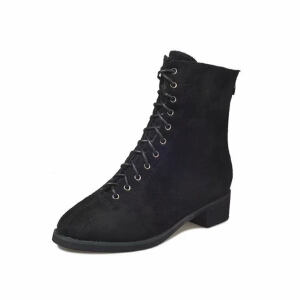 WARORWAR新品YM94-A18冬季韩版磨砂反绒低跟鞋舒适女士靴子马丁靴短靴