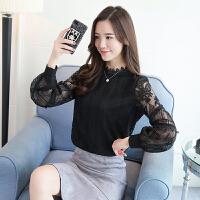 春夏女装新款大码蕾丝衫上衣镂空半高领韩版修身长袖打底衫