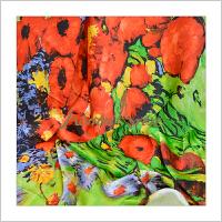 蒙马特大街桑蚕丝真丝围巾方巾夏防晒艺术衍生品梵高油画丝巾花卉