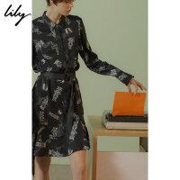 【25折到手价:179.75元】 Lily春新款女装趣味印花衬衫连衣裙118330C7248