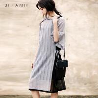 [AMII东方极简] JII AMII2018夏装新款绑带撞色条纹镂空薄透视毛针织衫宽松罩衫女