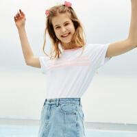 【1件2折到手价:29.2】美特斯邦威夏装新款chic短袖T恤女韩版简约基础款打底衫可爱