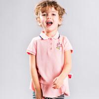 【3折价:80.7元】暇步士童装女童T恤夏装新款短袖翻领polo衫中小童裙式上衣