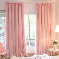 窗帘成品全遮光公主风粉色蕾丝卧室客厅简约现代双层纱帘飘窗