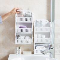 免打孔墙壁置物架洗漱用品储物架浴室洗手间架子厕所木塑收纳架 白色