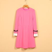 【F】女新款春8G1124圆领甜美长袖瑞丽中腰连衣裙