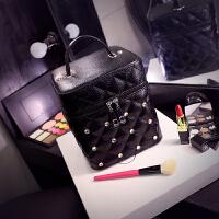 化妆包小号便携韩国简约少女心品收纳包大容量多功能化妆箱盒手提 黑色 方箱大号