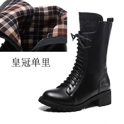 马丁靴女英伦风粗跟中筒短靴平底真皮加绒靴子机车女靴秋冬季女鞋