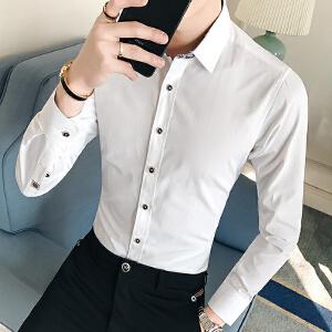 男装春季新款时尚韩版纯色衬衣男士休闲修身长袖衬衫