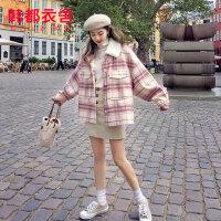 韩都衣舍2019秋冬新款韩版女装小个子呢子大衣小香风拼接毛呢外套