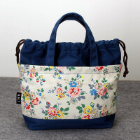 新款抽绳帆布包印花小包包休闲饭盒包便当袋妈妈买菜零钱包手提包