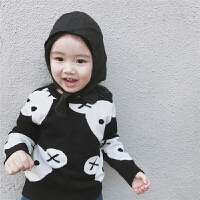 18新款ins童装男女童黑白小熊双层全棉线毛衣儿童宝宝开肩扣毛衣