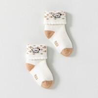 新生儿毛巾翻口袜0-3-12个月宝宝加厚保暖袜子婴儿春秋短袜