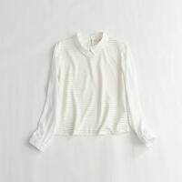 长袖雪纺衫 镂空暗条纹透视翻领甜美衬衫 18J