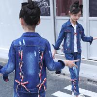 童装儿童套装2018春季新款女童牛仔套装中大童韩版两件套潮流织带