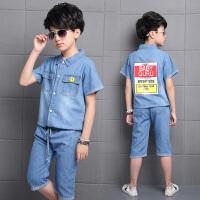 男童夏装新款套装韩版儿童夏季短袖牛仔两件套男孩帅气潮衣服