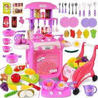 儿童过家家厨房玩具做饭仿真过家家玩具宝宝厨具套装男女孩 粉色 灯光声效 水循环出水【带切水果 购物车】
