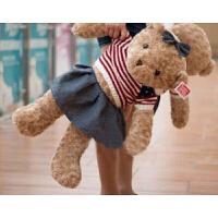 珊瑚绒情侣泰迪熊穿衣牛仔抱抱熊玩偶小熊公仔毛绒玩具熊