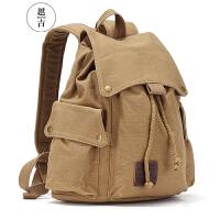 越古帆布包女双肩背包简约复古韩版高中书包男女包户外大容量旅行