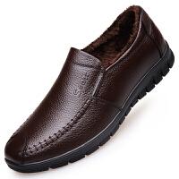 冬季男士皮鞋加绒中老年爸爸鞋软底中年休闲真皮男鞋老人保暖棉鞋