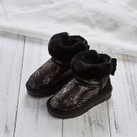 女童雪地靴儿童靴子2018冬季新款加绒棉靴皮毛一体公主短靴