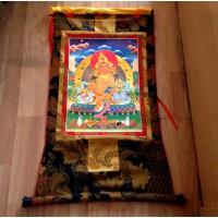 藏传佛教用品 手编布镀金(烫金)唐卡佛像 黄财神 赞巴拉 长125cm
