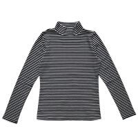 黑白条纹半高领打底衫韩版修身长袖T恤上衣女秋冬内搭潮
