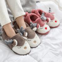 亲子棉拖 男女童卡通保暖防滑毛拖鞋2020秋冬季男女士居家包跟室内一家三口家居鞋子