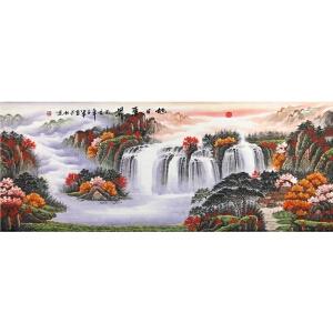 河北省美协会员,一级美术师赵ya军【旭日东升 】175*66cm.纸本软片,品如图。